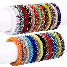 Nepal Crystal Glass Seed Bead Bracelet Crochet Handmade Bangle Jewelry Gifts NEW
