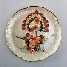 Assiette décorative Oiseau formé de nacre et coquillages Kitsch Bird shell plate
