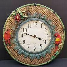 "Kirch 13"" Tropical Parrots Flower Basket Weave Design Round Resign Wall Clock"