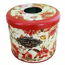 Flower Pattern Metal Cylinder Toilet Roll Case Toilet Paper Dispenser Tissue Box