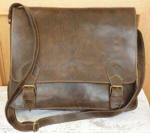 Brown Leather bag satchel laptop crossbody messenger bag long strap