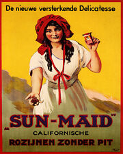 SUN MAID GIRL CALIFORNIAN SEEDLESS RAISINS 8X10 VINTAGE POSTER REPRO FREE S/H