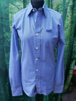 SUPERDRY Blue Small Check Long Sleeved SHIRT Size Small
