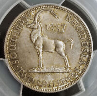 1937, Southern Rhodesia, George VI. Silver 2 Shillings (Florin) Coin. PCGS MS64!
