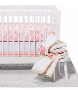 Cloud Island Little Sprout Coral 4P Crib Set/set/3  Pink Lemonade Swaddles