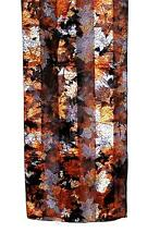 SCARF Long Light & Dark Brown Chestnut Gray ABSTRACT MAPLE LEAVES