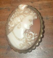 "10K Gold High Relief 1 1/2"" Antique Carved Shell Cameo Brooch Pin Pendant"