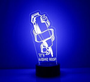 Barber Shop Clippers Light Up Night Light Lamp LED With Remote Personalized