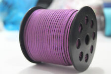 3mm Width Sequins Faux Suede Leather Thong Jewelry Necklace DIY Making Cord Purple 10 Yard