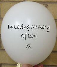 3 In Loving Memory of Dad, White Rememberance, Funeral, Wake, Memorial Balloon
