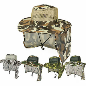 Camo Bucket Boonie Snap  Fishing Outdoor Wide Brim  Flap Hat Neck Cover