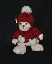 Peluche doudou ours beige crème BUKOWSKI pull bonnet bordeaux tricot 25 cm NEUF