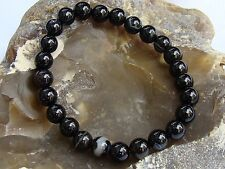 Men's Women's Bracelet NATURAL Gemstone 8mm BLACK AGATE Elastic streachable