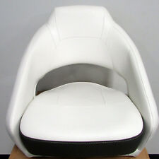 Larson LX Boat New Quality Low Back Bucket Captain Chair Seat White/Tan/Grey