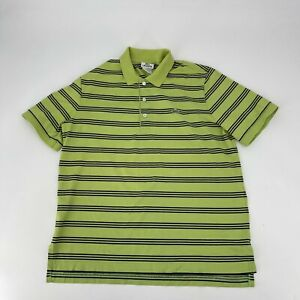 Lacoste Polo Shirt Mens Size 5 M Green Stripe Short Sleeve Green Croc Casual