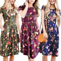Women Summer Boho Flower Short Maxi Dress High Waisted Casual Beach Dresses