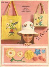 1960s Vintage Rick-Rack Flower Trims Appli-Tiques Hat Tote Accessories Pattern