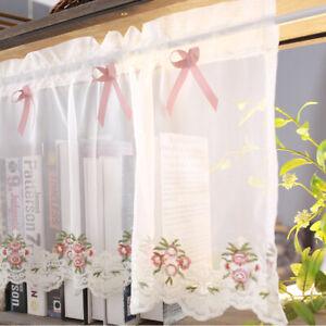 Short Half Curtains Window Sheer Valance Kitchen Bedroom Bathroom Door Drapes