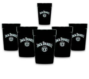 6x Jack Daniels Whiskey Becher Schwarz Mehrweg 0,3l Neu Festival stapelbar Glas