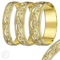 9ct Yellow Gold Ring Beaded Edge Diamond Cut Stars Light D Shaped  Wedding Band