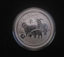 2015 1oz .999 Fine Silver Australian Perth Lunar Year of the Goat Lion Privy