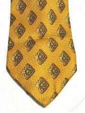 Ermenegildo Zegna Mens Tie Necktie Gold Brown Diamond 100% Silk NEW
