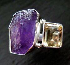 Amethyst & Citrin Rohstein Ring 925 Sterlingsilber Größe 55 R481