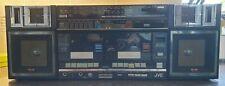 Vintage JVC PC-W330LB Boombox 1980s Radio & Twin Tape Cassette Ghetto Blaster