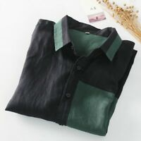 Men Linen Shirt Jacket Patchwork Long Sleeve Loose Button Tee Top Casual Fashion