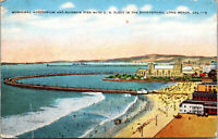 Vtg Municipal Auditorium and Rainbow Pier with US Fleet Long Beach CA Postcard