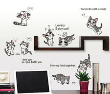 Lovely Cute Baby Cat Wall Stickers Removable Kids Nursery Room Decal Home Decor