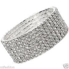 7 Righe Diamante Strass Stretch Argento bracelet@uk