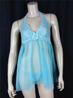 FAMOUS CATALOG NEW DREAM ANGELS HALTER BABYDOLL SPA BLUE SIZE SMALL, LARGE