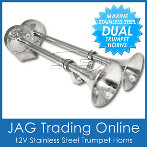 12V STAINLESS STEEL DUAL TWIN TRUMPET ELECTRIC SIGNAL HORN- BOAT/MARINE/TRUCK/RV