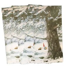 lot of five Unused Vintage 1976 large Rien Poortvliet Gnomes mouse notecards