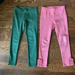 lot 2 pairs Janie and Jack ponte pants leggings button cuffs gold size 8 green