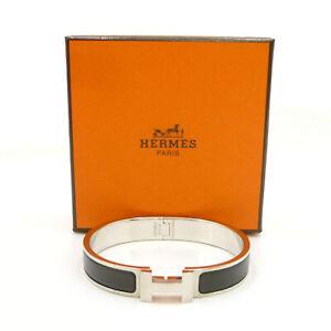 Authentic HERMES Clic HH Bracelet Bangle Noir Mat Silver Metallic #K412118