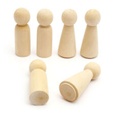 More details for 6x blank wooden people peg dolls figures wedding cake toppers diy craft toy 10cm
