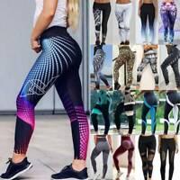 Womens High Waist Leggings Print Yoga Pants Push Up Stretch Fitness Gym Trousers