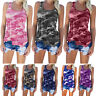 Womens  Sleeveless Camo Vest T-Shirt Cami Blouse Tee Summer Casual Loose Tops