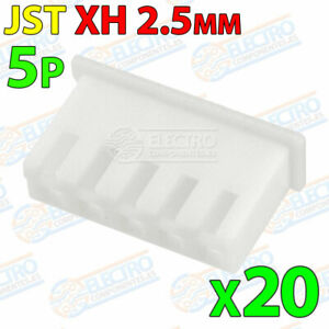 20x Carcasa Conector JST XH 2.5mm 5P plastico blanco cable 5 pines
