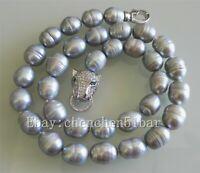 kultivierte 10-11mm grauer Reis Süßwasser Perle Tiger Kopf Halskette 18 Zoll