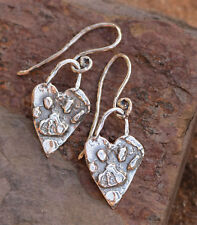 Paw Print on Heart Sterling Silver Artisan Earrings with Handmade Ear Wires