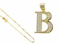 """10k Yellow Gold Alphabet Initial Letter A To Z Pendant 18"""" Gold Box Chain"""