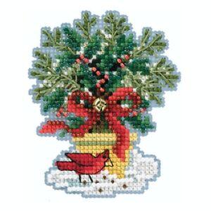 Evergreen Topiary Cross Stitch Ornament Kit Mill Hill 2020 Winter MH182035
