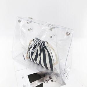 Transparent PVC Clear Shoulder tote bag Beige Zebra Insert Detachable Strap