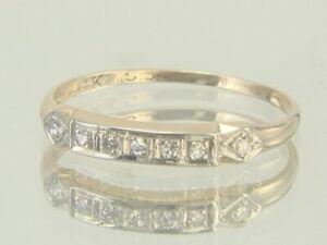 Vintage 14K Yellow Gold 1930's Diamond Wedding or Anniversary Band Size 6