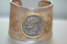 Armreif mit orig Römischer Münze  Silber 925  signiert  Platin, Feingold Unikat