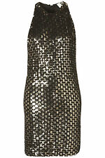 BNWT TOPSHOP UNIQUE GOLD BLACK SEQUIN PARTY DRESS SIZE 14 rrp £150 TOP SALE Xmas