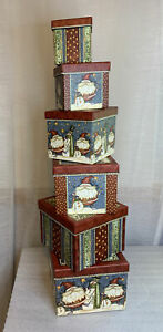 6 Paper Image Nesting Christmas Boxes Santa Snowmen Stars EUC